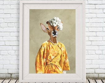 Retro Deer Print,  Antler, Stag, Deer Art, Deer Art Print, Deer Artwork, Wall Decor, Wall Art, Deer Wall Hanging, 8x10,Gift For Her,Sixties