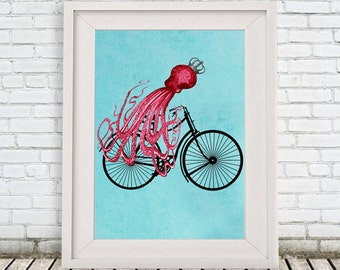 Fantasy Octopus Print, Animal painting, Giclee Print Acrylic Painting Illustration wall decor Wall Hanging: octopus on bicycle