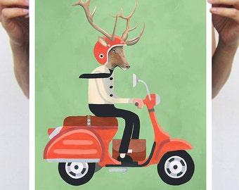 Deer Antler Print, Deer Head,  Deer Art, Stag, Deer decor, Wall art, deer wall decor, Antlers Decor, Deer on scooter, vespa poster, vintage