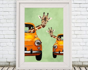 Funny Giraffe Print, Giraffe illustration, Acrylic Painting, Animal Painting, giraffe decor, giraffe motif, giraffe in car, Coco de Paris