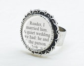 Jane Eyre Ring - Book Lovers Jewelry - Jane Eyre Quote: Reader, I Married Him - Literary Wedding - Book-Themed Wedding