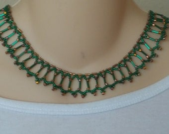 Green collar necklace with emerald green bugle and seed beads