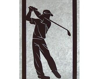 golf player en wooden cut