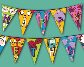 Adventure Time themed bunting and paper chains / garlands