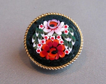 Vintage Small Floral Micro Mosaic with Millefiori Brooch