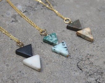 Triangle Stone Necklace // 16K Gold // Minimal Necklace // Layering Necklace // Geometric Necklace // Double Triangle // Gemstone
