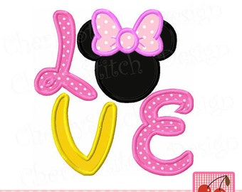 LOVE Minnie Embroidery Applique MM0060 -for 4x4 5x5 6x6 inch