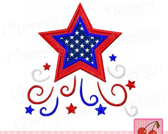 July 4th Stars, 4th of July Patriotic Machine Embroidery Applique Design JULY0007 J -4x4 5x5 6x6 inch