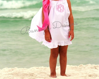 Girls Dresses, Monogrammed Dress, Personalized Dress, Beach Dress, Flower Girl Dress, White Pillowcase Dress W/Ruffle Hem And Ribbon.
