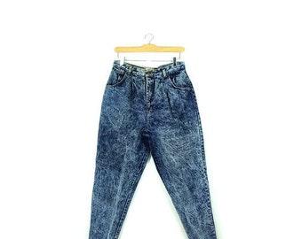 Vintage High Waist Acid Wash Denim Pants from 1980's/W29*