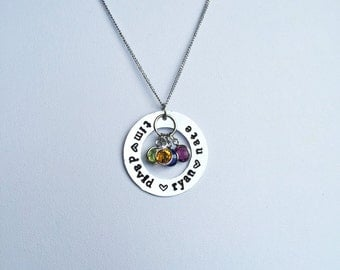 "Hand Stamped Necklace |  Mother or Grandma Necklace | 1.25"" Names Pendant w/ Swarovski Birthstones"