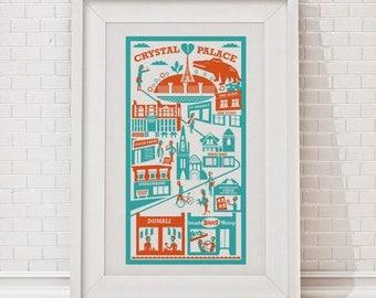 Crystal Palace print / London illustration / London print