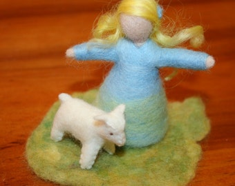 Needle Felted Blue Girl and Lamb Eco Friendly