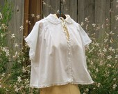 Vintage Bed Jacket, Handsewn, Off white with Lace Trim, Shabby Chic Bed Jacket, Cotton Bed Jacket