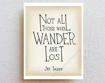 Not all who wander are lost, inspirational quote poster, minimalist art print, boho chic wall art, graduation teen gift, college dorm decor