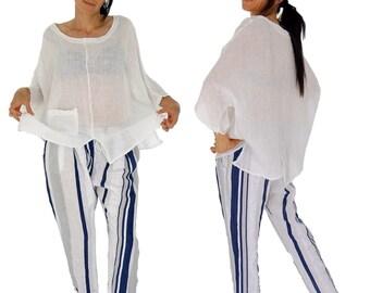 HL900W ladies blouse kastig cut linen crash one size White