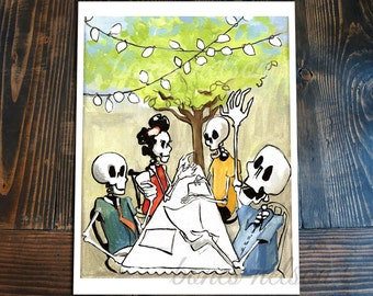 Day of the Dead Art Street Party Family Dinner Kitchen art print. Bones Nelson Skeleton El Catrin La Catrina illustration Dia de los Muertos