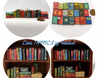 Miniature Books -- 21 DUSTY OLD BOOKS Miniature Books Dollhouse 1:12 Scale Prop Fill a Bookshelf Faux Books Library #2