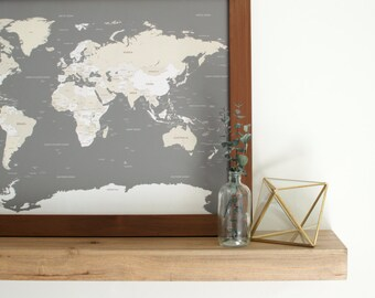 World Map, Push Pin Travel Map, World Map Wedding, Travel Map, Push Pin Map, Travel Gifts, Gift for Men, Gift for Parents, Valentine's Day