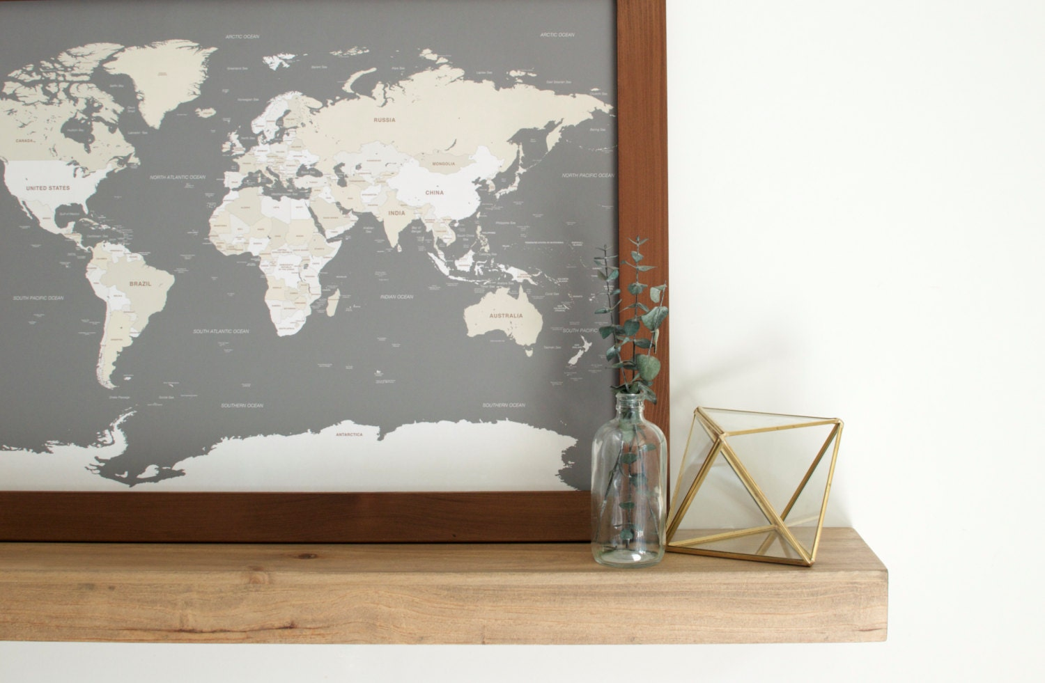 Earth Toned USA Travel Map With Frame And Pins Push Pin Travel - Us travel map push pin