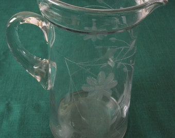 Early 1940s Etched Glass Pitcher with Floral Design