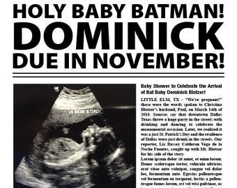 Batman Gotham Times Personalized Baby Shower Poster / PRINTABLE / Digital File