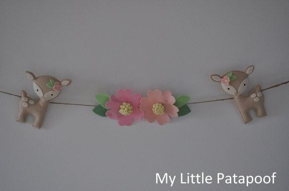 Fawn Garland. Pink Flowers - Baby Girl