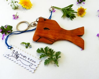 Wooden Whale Key Chain