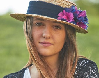 Straw hat for women - Canotier hat - Feathers hat - Summer hat for her