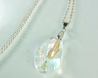 Large AB Crystal Teardrop Pendant Necklace | Faceted 38 mm Chandelier Glass Crystal Prism | Sterling 925 Silver Plated Rolo Chain