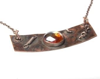 hippie necklace metalwork bohemian jewelry copper necklace gift women bohemian necklace glass necklace  boho necklace gypsy jewelry