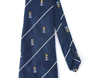 Vintage Dark Blue Navy Marine Anchors Necktie Men Preppy Tie