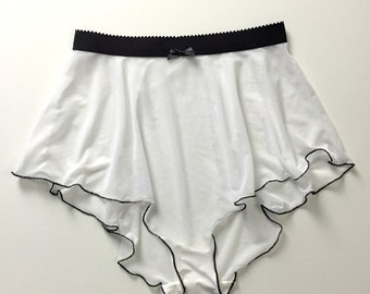 White mesh tall French knickers with black elastic and bow - High waisted sheer lingerie