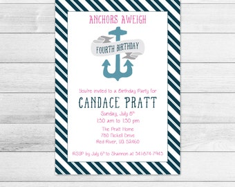 Nautical Anchor Girl Birthday Party Invitation, Digital Invite File Blue and Red