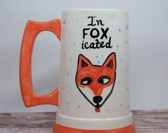 Fox Tankard, Intoxicated Pun, Infoxicated Tankard, Fox Beer Stein, Ceramic Tankard, Handmade Tankard, Fox Lovers, Foxy Tankard, Funny Fox