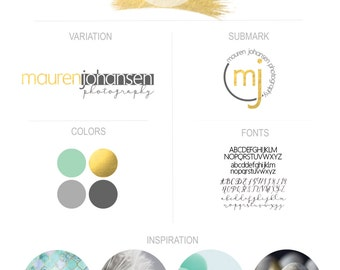 Gold Foil Paintbrush Premade Boutique Logo Branding Kit Blogger Photographer Creative
