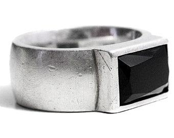 Mens Ring Sterling Silver Onyx Gemstone Men rings Black Onyx Rings Vintage for him Jewellery
