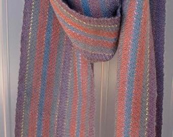Alpaca hand woven striped scarf