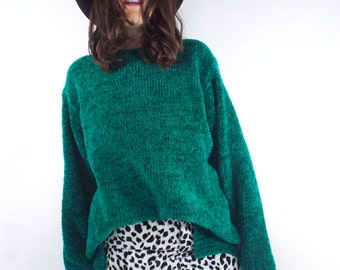 Vintage 90s Cozy Green Oversized Sweater