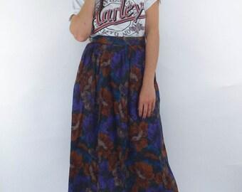 Vintage 80s Floral Print Pleated Pocket Maxi Skirt