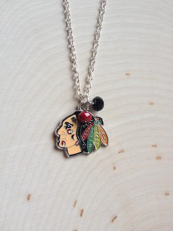 chicago blackhawks necklace blackhawks jewelry chicago