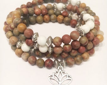 Rainbow Jasper/Howlite 108 Mala bracelet - Mala Necklace - Yoga Mala - Wrap Bracelet
