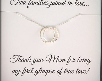 Mother of the Bride thank you gift, Wedding jewelry for Mother of Bride, Connecting circles necklace, Mothers necklace