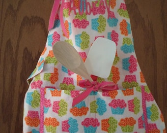 Toddler Cupcake Apron/Easy Elastic Neck/Ample Pockets/Velcro Waist