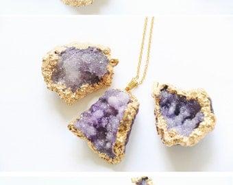 Raw crystal necklace, Druzy crystal necklace, Purple crystal necklace, Rough gemstone necklace, Crystal necklace, Raw quartz necklace OOAK