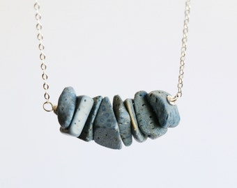 Blue coral raw crystal necklace,raw stone jewelry,gemstone necklace, raw quartz necklace, everyday necklace, layered necklace,