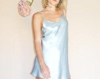SALE PRICE   Small Pale Blue Slip Dress   Silvery Sky Blue Charmeuse Silk Slip Dress   Fun and Versatile   Dress Up and Dress Down