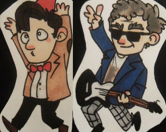 Eleventh and Twelfth Doctor stickers - Doctor Who inspired - Drunk Giraffe - Guitar