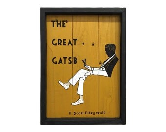 The Great Gatsby, F. Scott Fitzgerald, Classic book cover hand-painted on reclaimed pallet wood, Wall art, 1920s, Art Deco