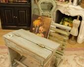 Old school desk, Blue green, Wooden miniature, Dollhouse furniture, 1:12th scale